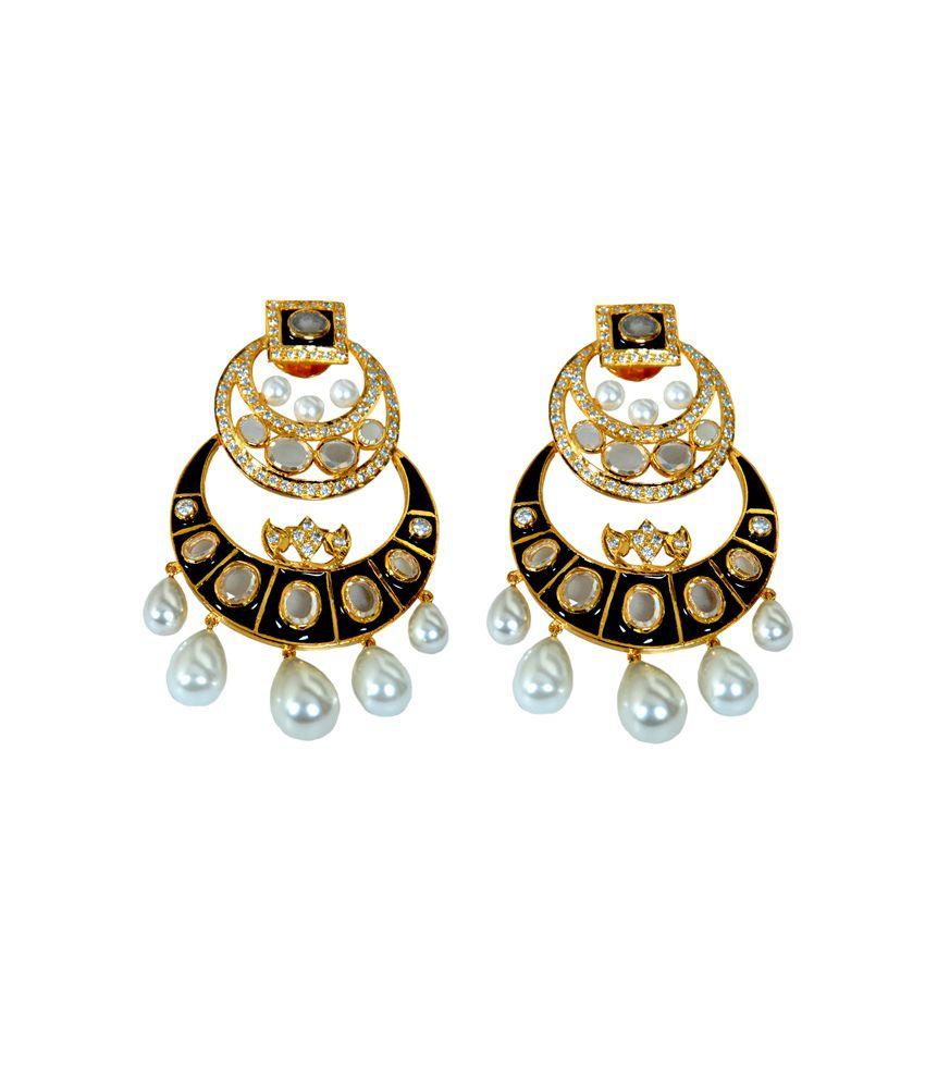 Adornments Black Enamel Chand Baali Earrings Set In 92.5 ...