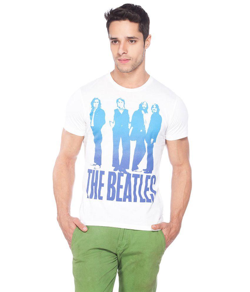 Beatels White Cotton Round Neck T Shirt