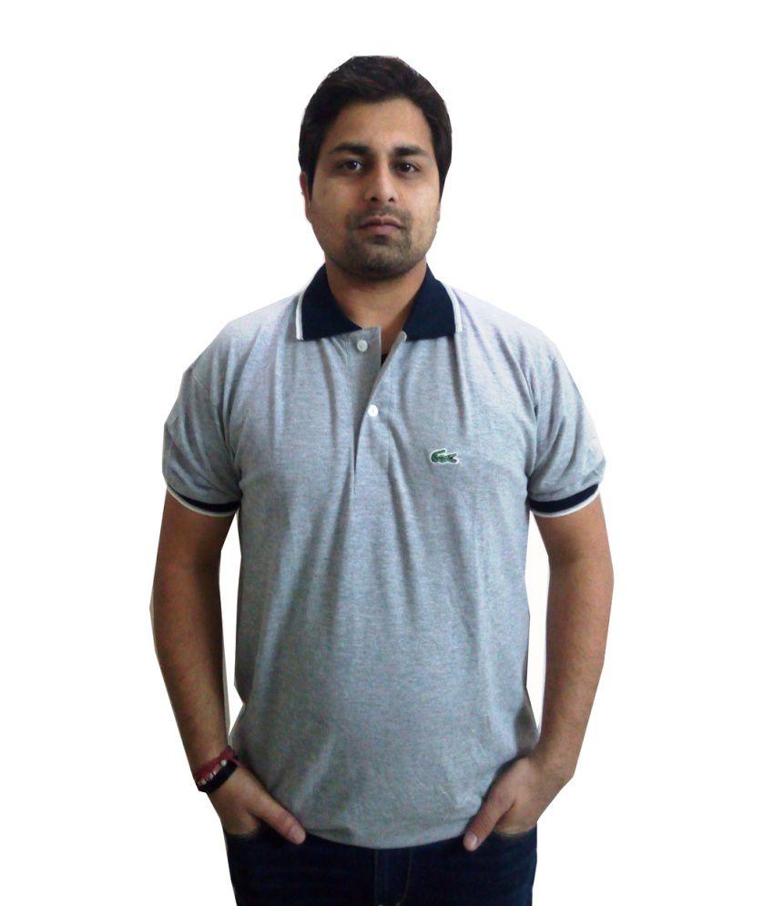 Lacoste Cotton Gray Basics Half T - Shirt