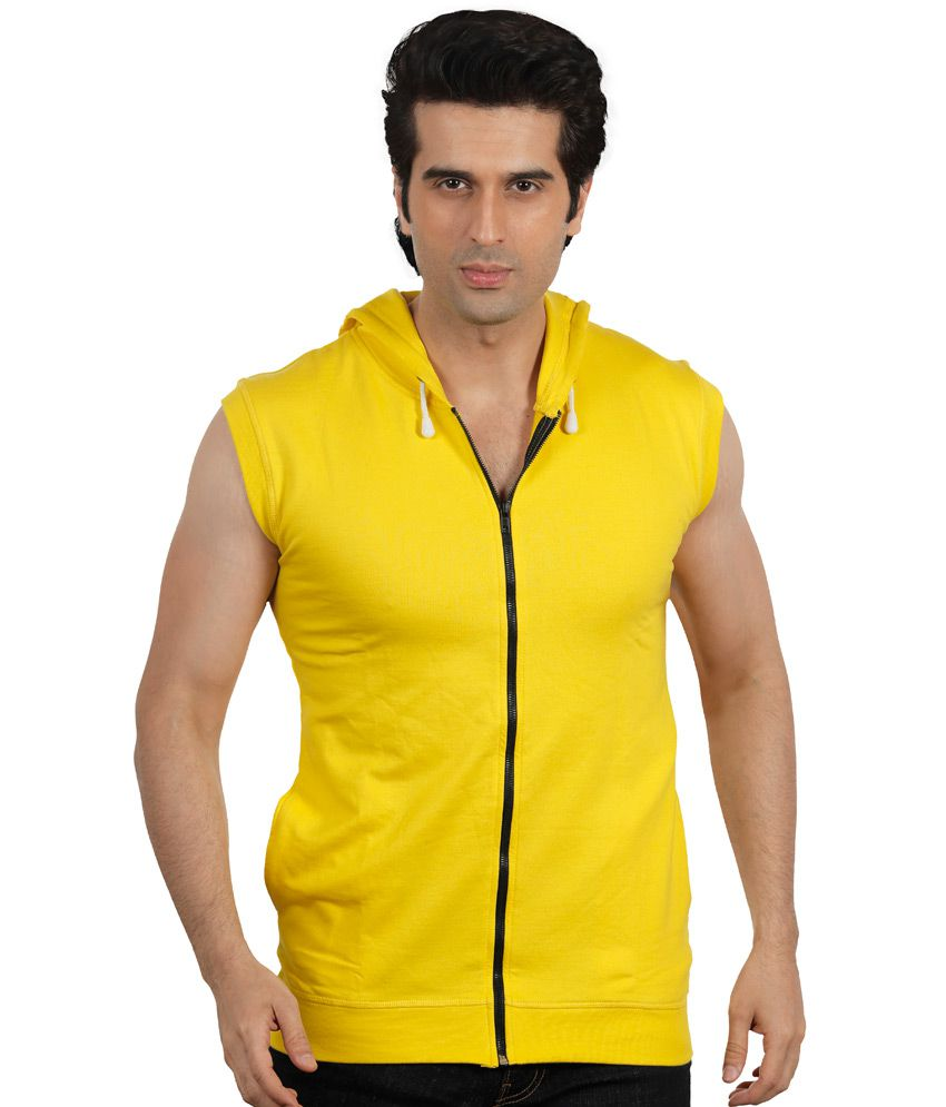 Maya Yellow Cotton Printed Hooded T-Shirt
