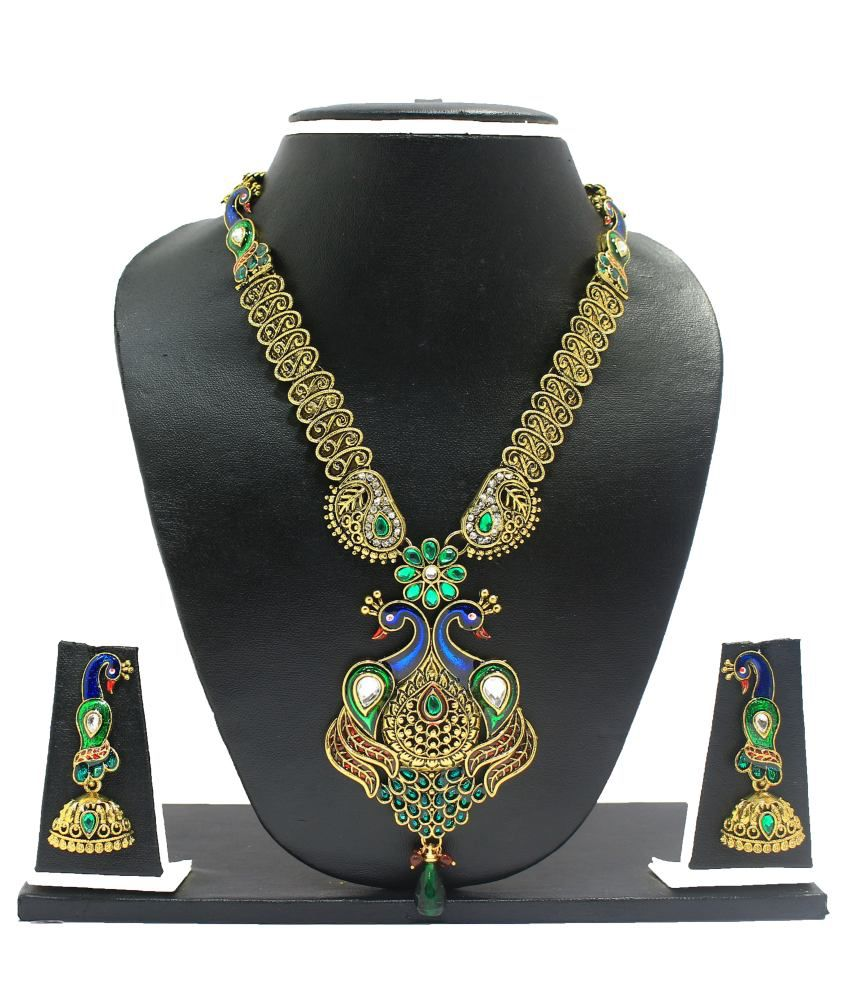 Dancing Girl Alloy Gold plated Pearl  Gorgeous Peacock Necklace Set