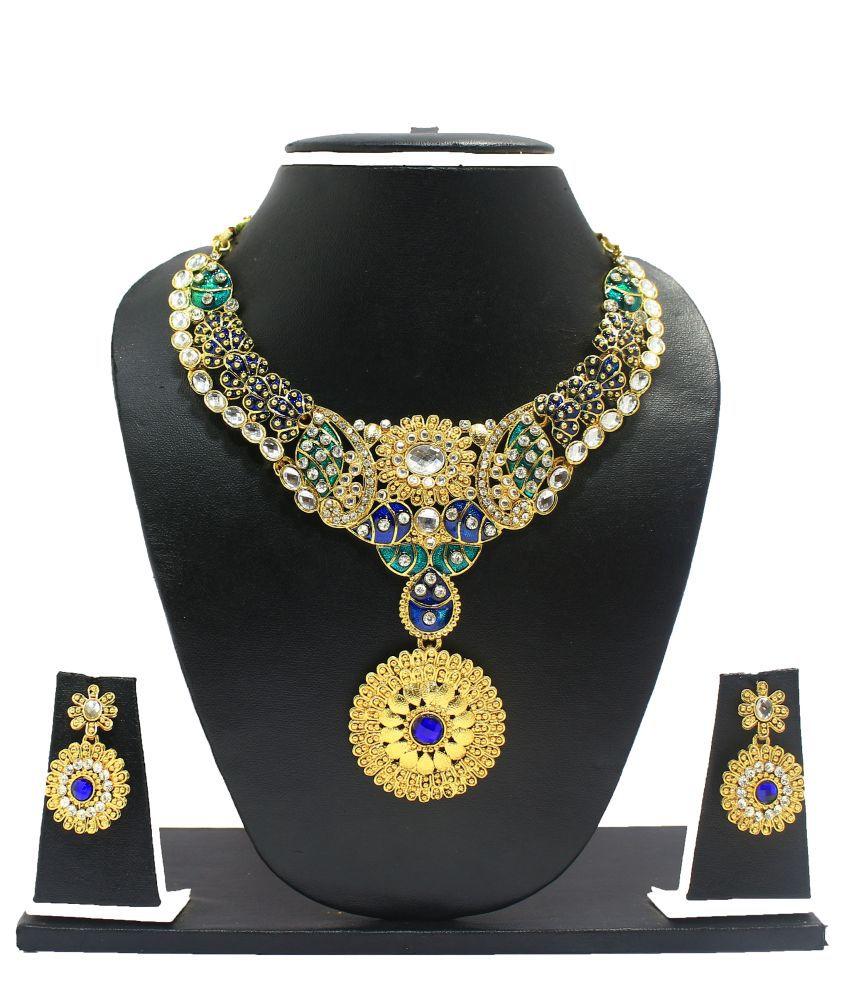 Zaveri Pearls Traditional Meenakari Necklace Set