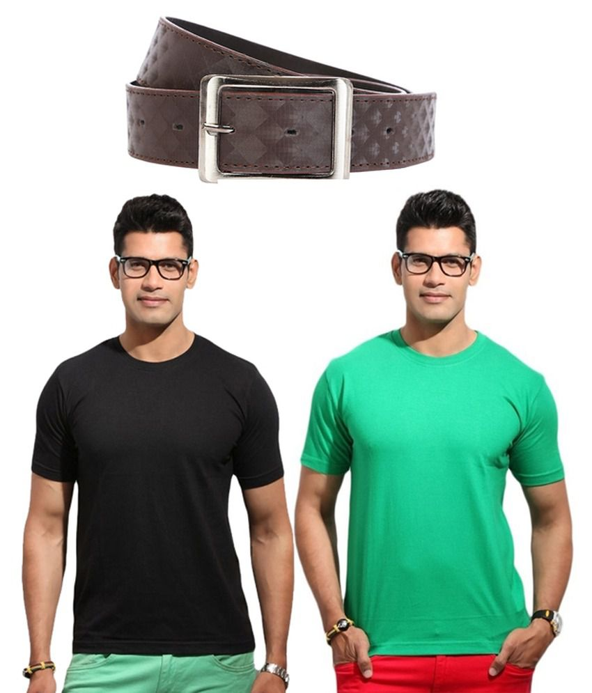 Best Cotton Set Of 2 Round Neck T-shirts And Belt Combo
