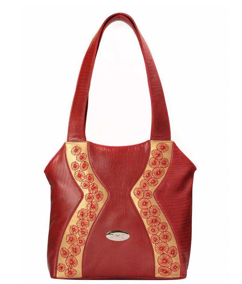 DHC Red Embroidered Handbag