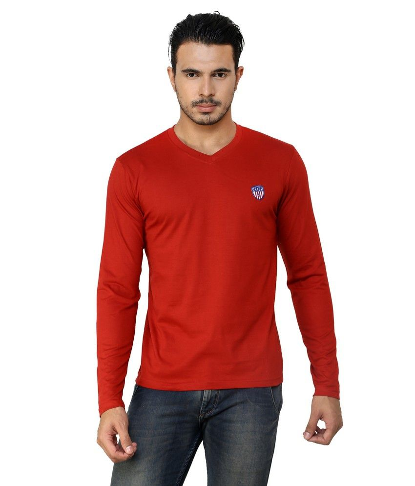 Free Spirit Red Cotton V-neck T-shirt