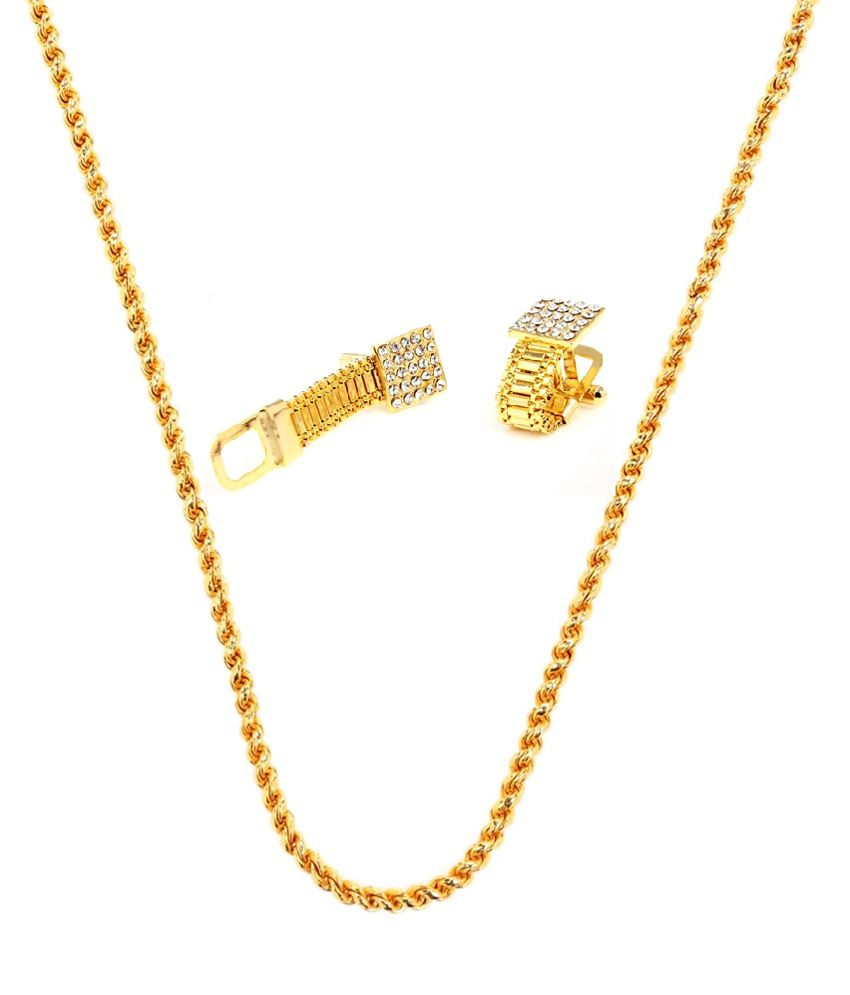 Goldnera Gold Plated Combos Alloy Dailywear Men Chain