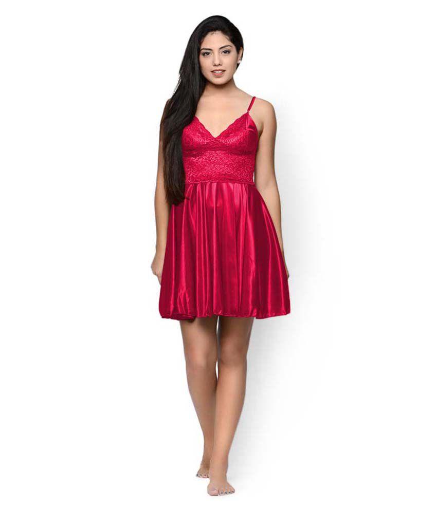 Wählen Sie für späteste heißes Produkt Designermode Klamotten Red Satin Baby Doll Dresses