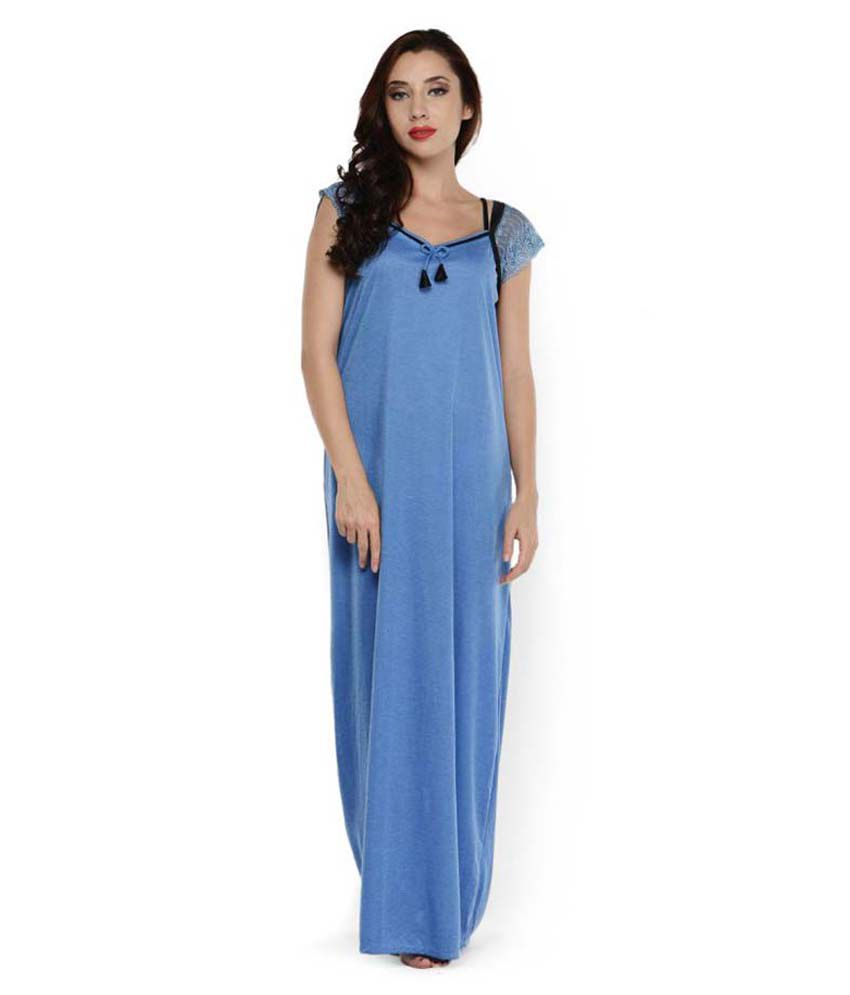 buy klamotten blue cotton nighty online at best prices in india snapdeal. Black Bedroom Furniture Sets. Home Design Ideas