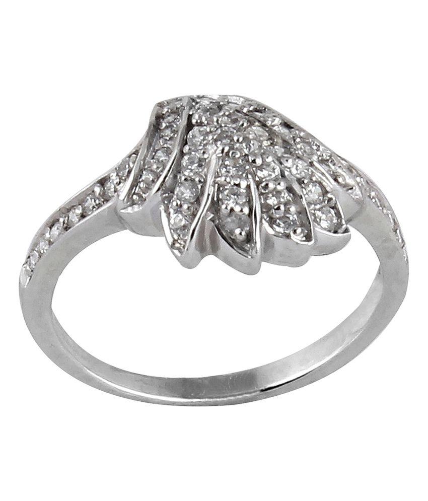 Lazreena Contemporary Rhodium Plated Designer 92.5 Sterling Silver Ring