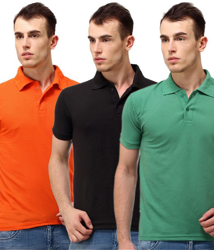 Lime Combo Of Orange, Black And Green Polo Neck T Shirt
