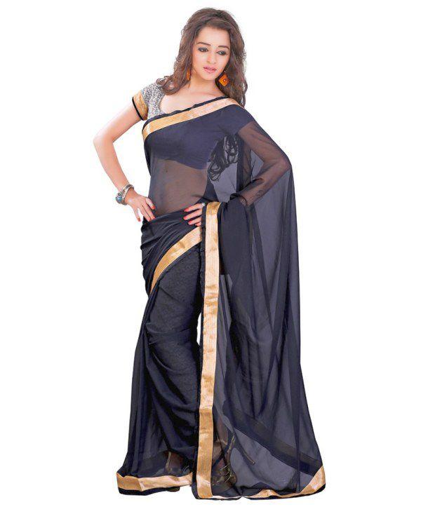 Lookslady Black Chiffon Saree