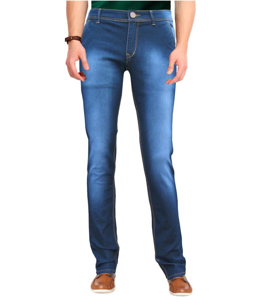 WP blue silky  stretchable slim fit jeans for men