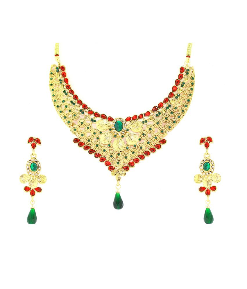 Zaveri Pearls Bejewelled Traditional Necklace Set