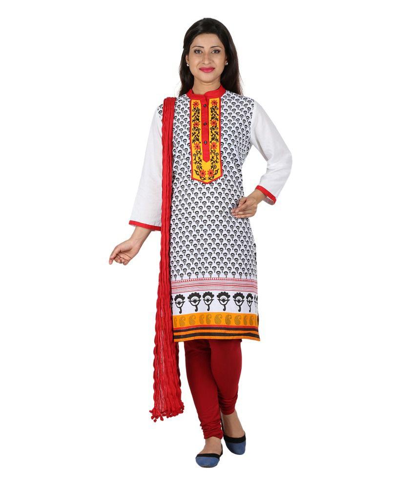 Anksh Womens White Embroidered Kurti