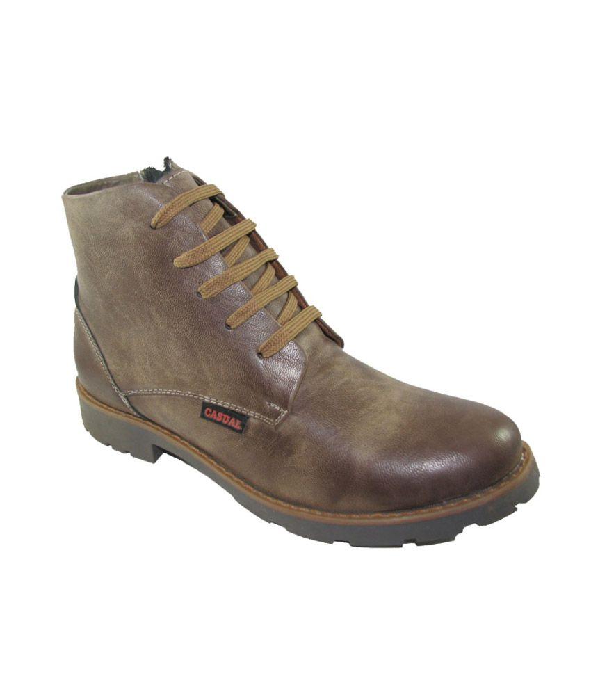 Faith Brown Faux Leather Men Boots