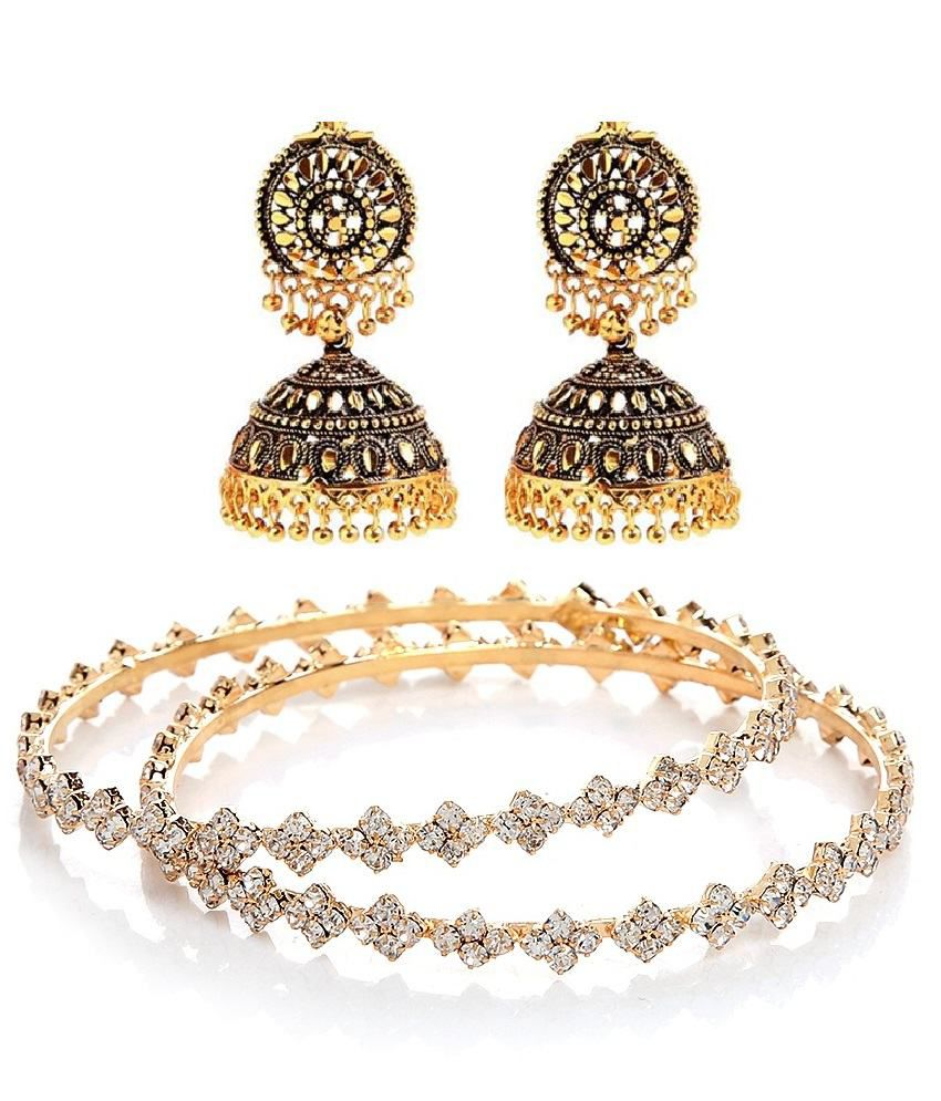 GoldNera combo of Pair of Pretty Studded Bangles with Antique Festive Beaded Jhumki