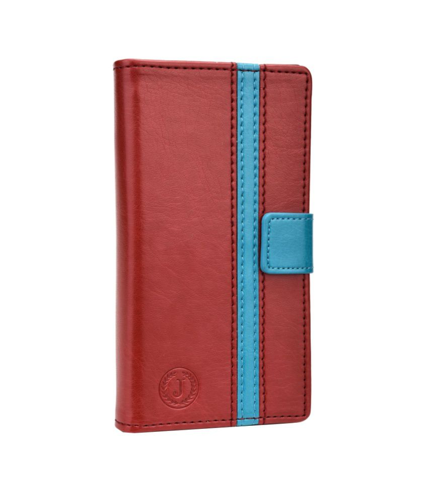Jo Jo Cover Pluto Series Leather Pouch Flip Case For Alcatel One Touch Snap LTE Red Light Blue