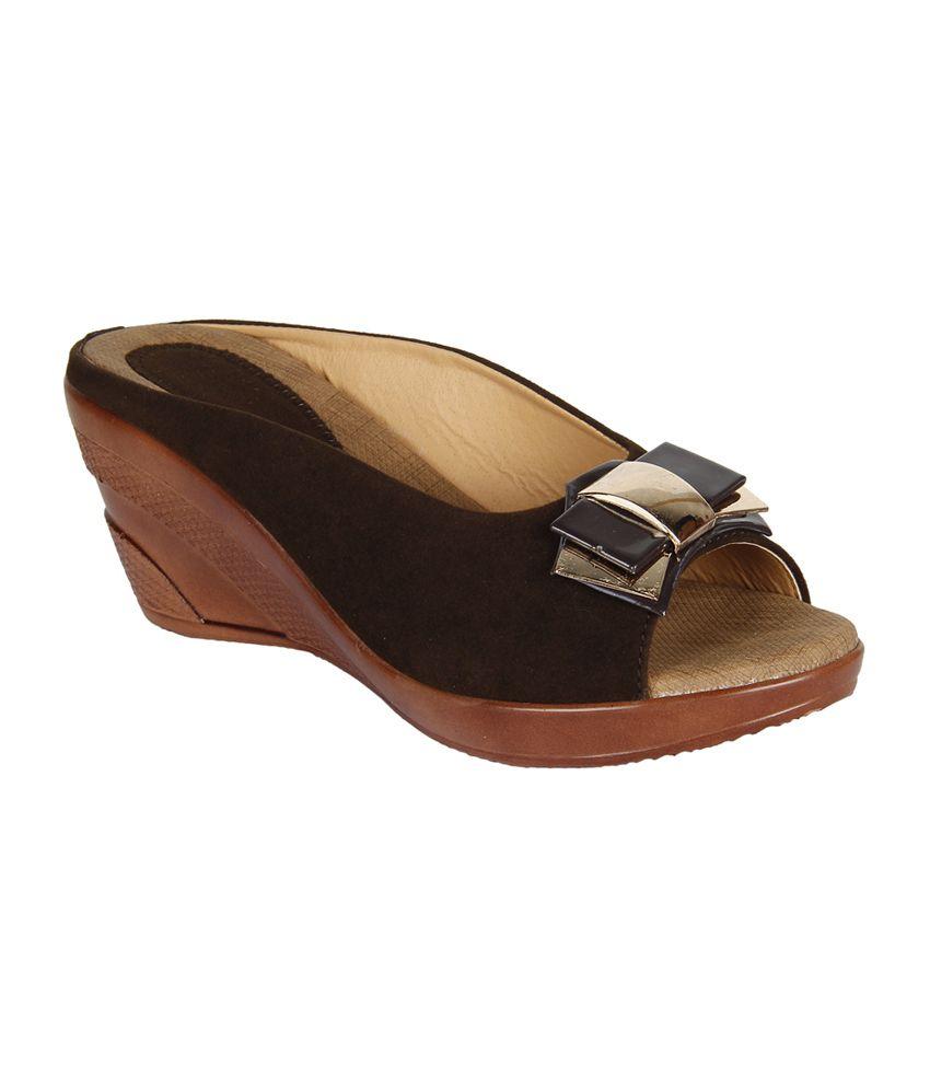 Niremo Sylvia Raine Brown Faux Leather Wedge Medium Heeled Sandals