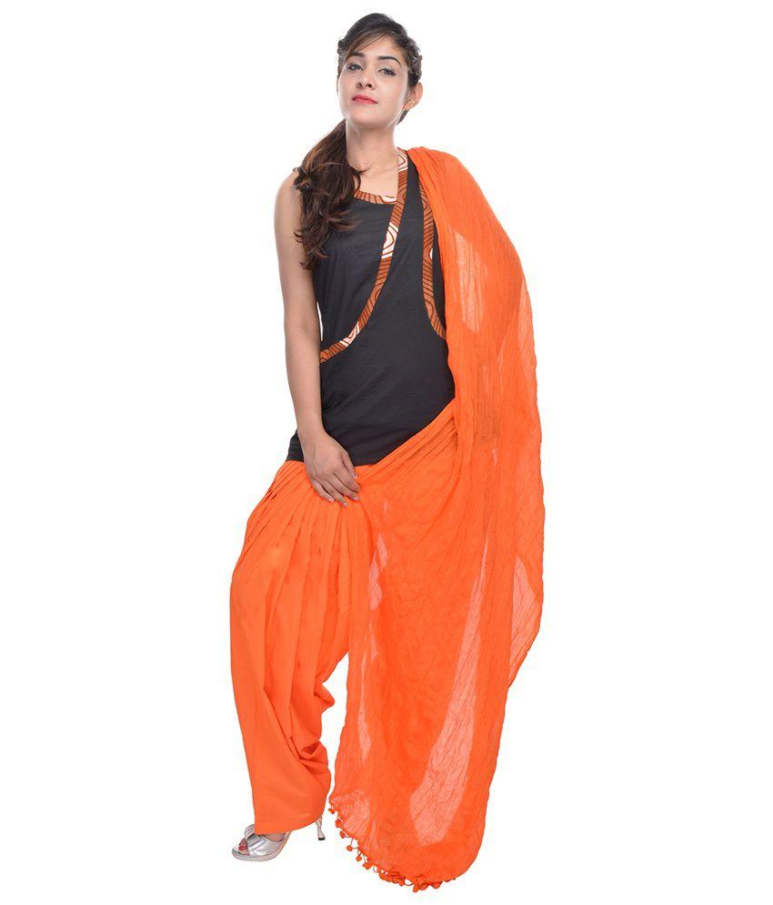Rajasthani Sarees Orange Cotton Patiala Salwar with Dupatta