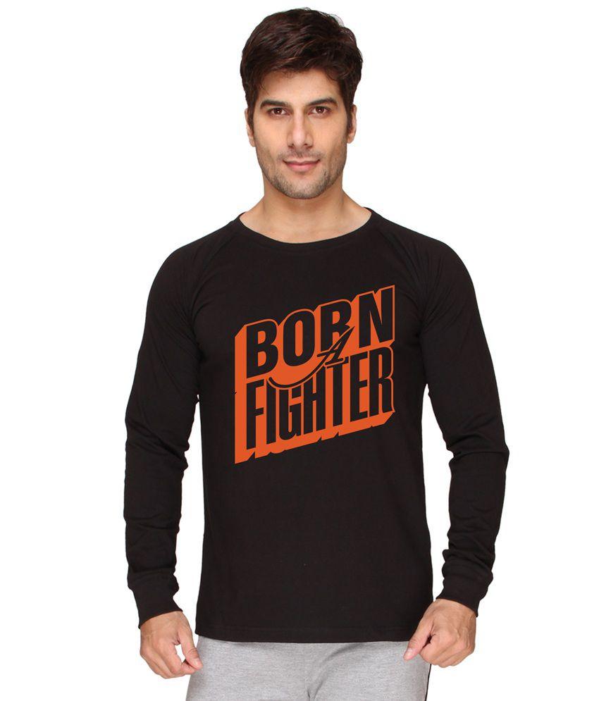 Sayitloud Born A Fighter Black Round Neck T-shirt