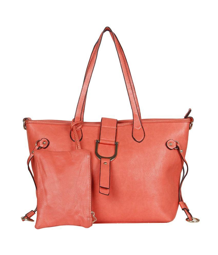 Cocktail Orange P.U. Zip Tote Bag