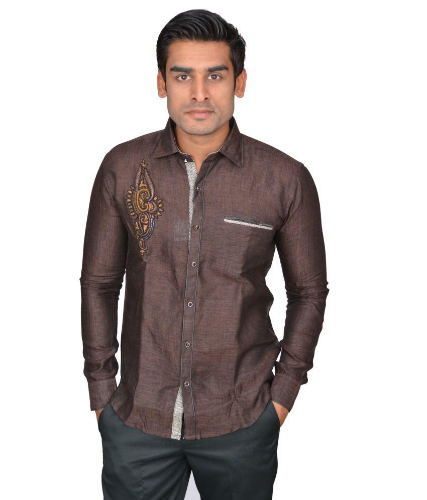 DoubleF Brown Linen Slim Fit Men Shirt