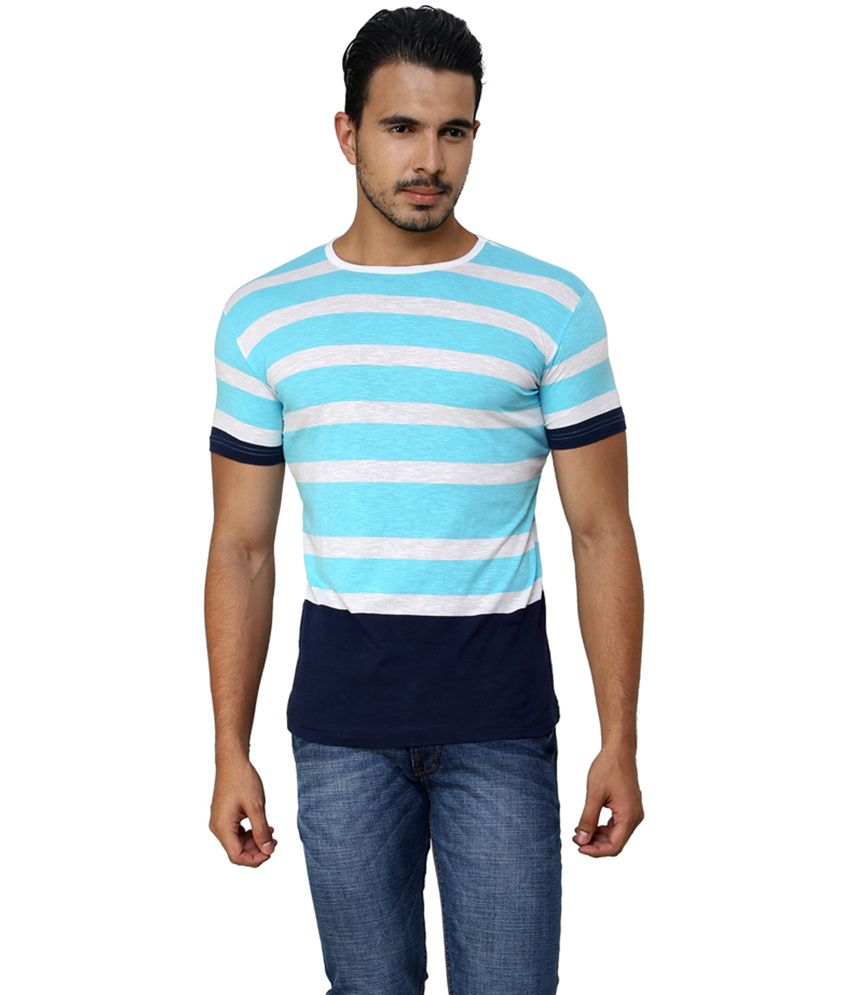 Ebry Blue Cotton Round Neck Half Sleeves T-Shirt