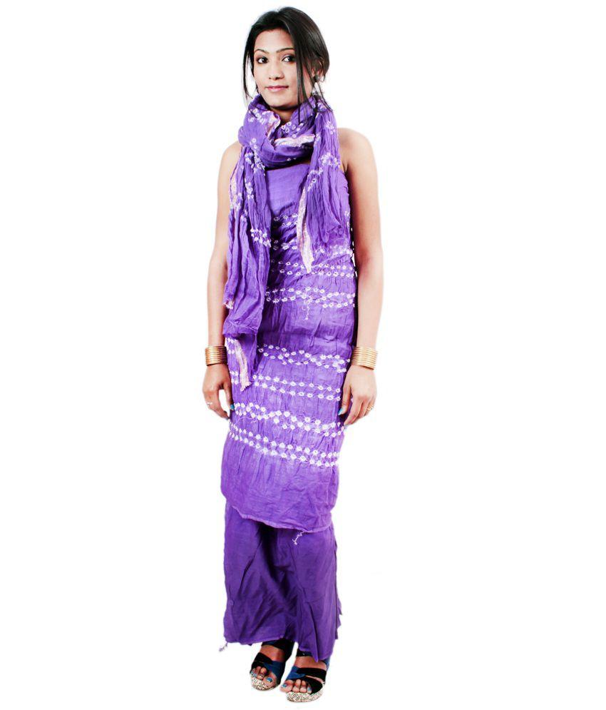 El Sandalo Purple Cotton Unstitched Dress Material