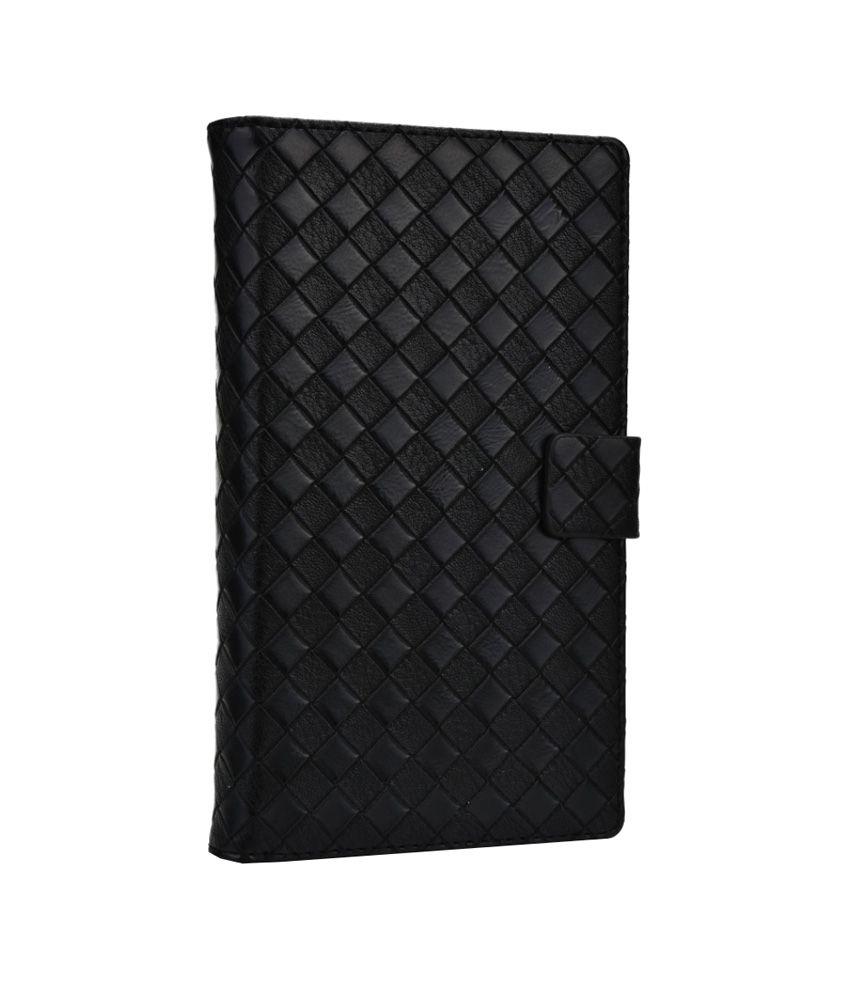 Jo Jo Bali Series Leather Flip Cover for Panasonic P55 - Black