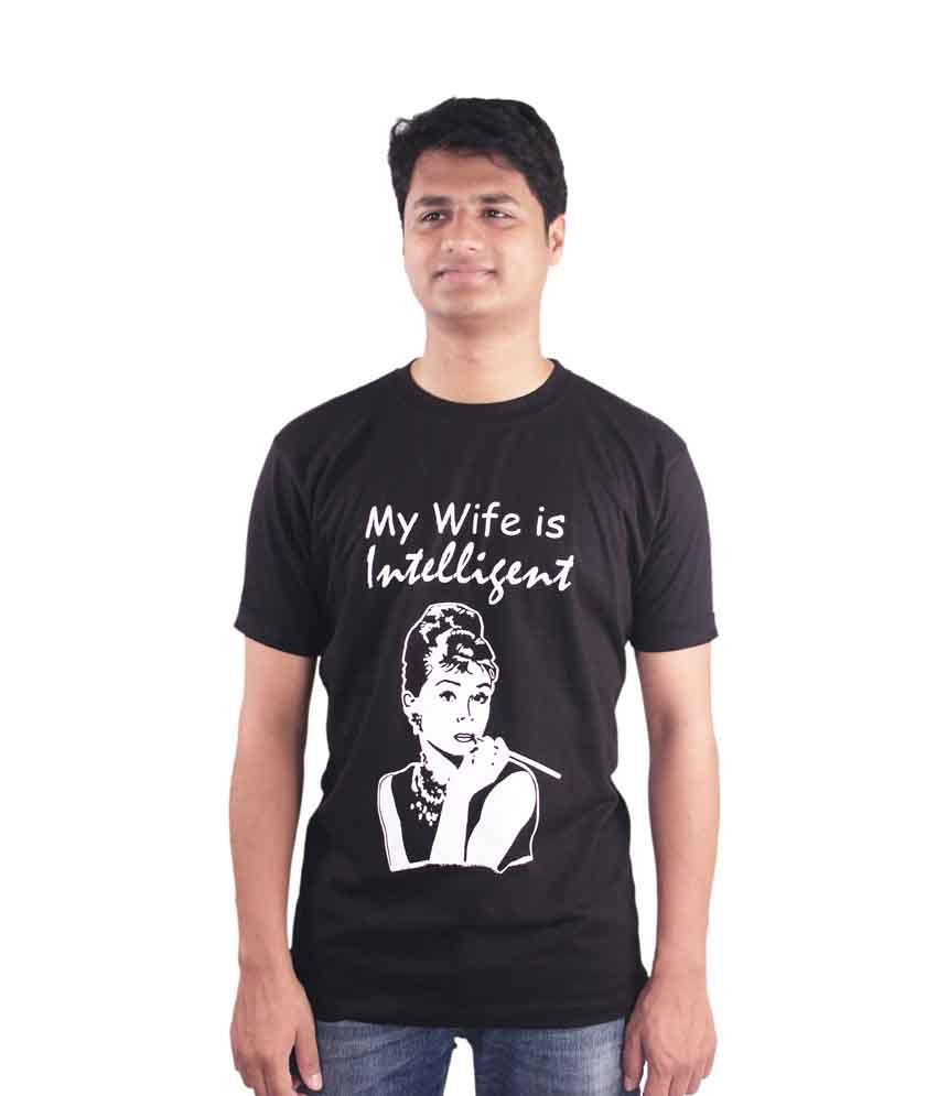 Elinen Shop Black Cotton Printed Round Neck T-Shirt