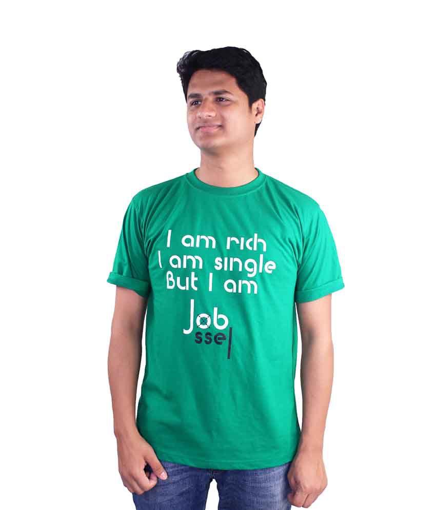 Elinen Shop Green Cotton Printed Round Neck T-Shirt