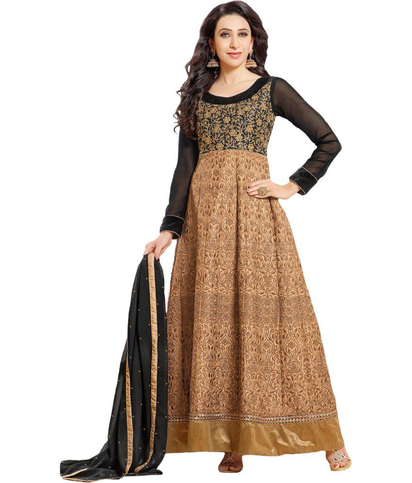 Ombresplash Brown and Beige Georgette Unstitched Dress Material