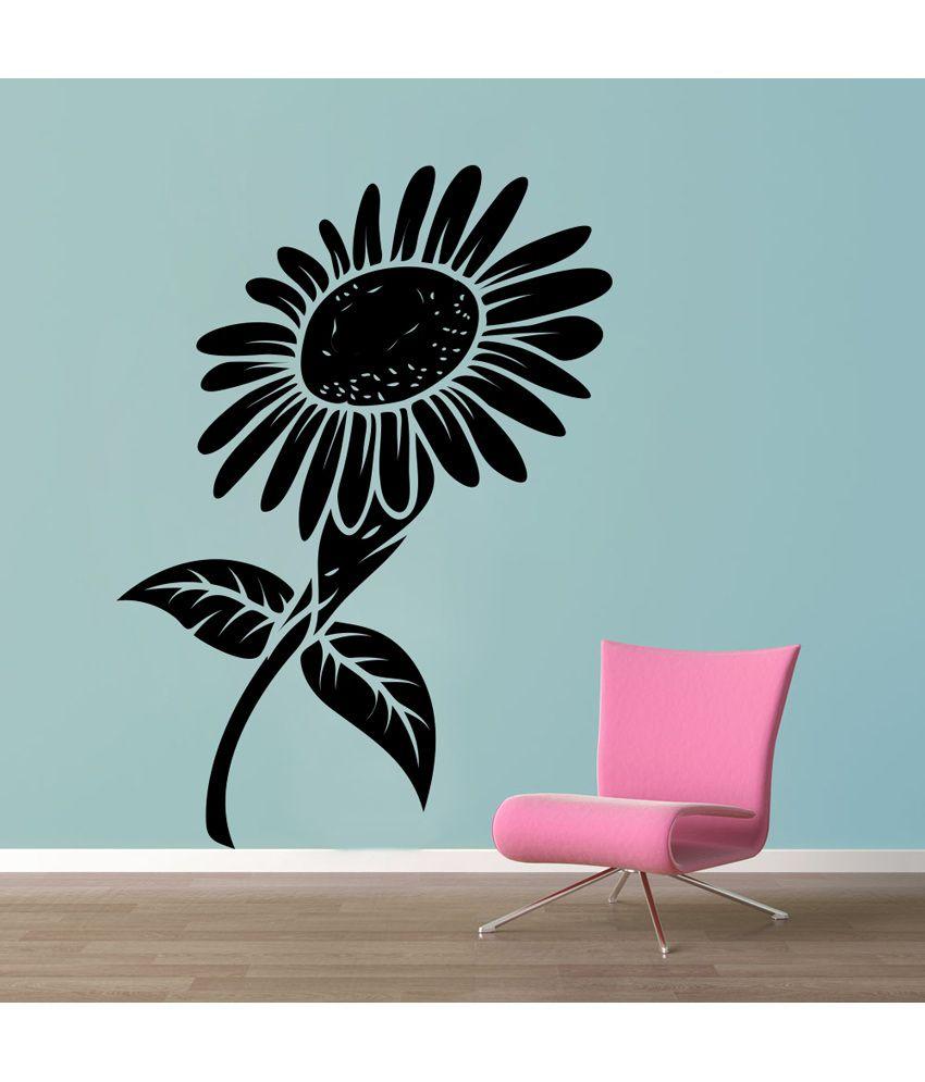 Decor Kafe Decal Style Black Sunflower Wall Sticker