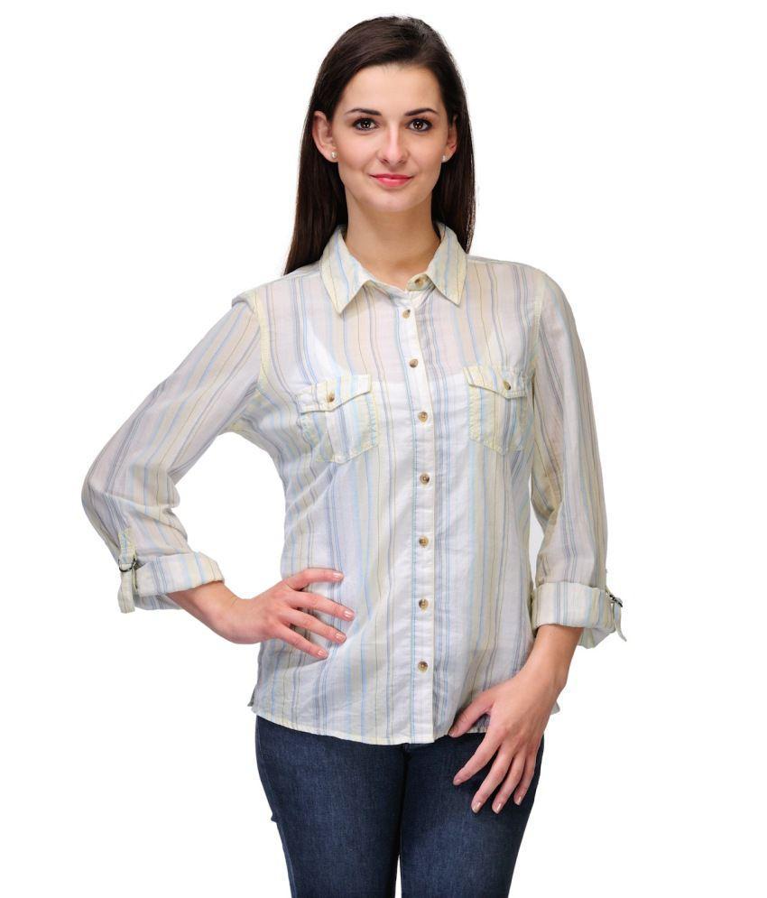 Kiosha White Cotton Blend Shirts