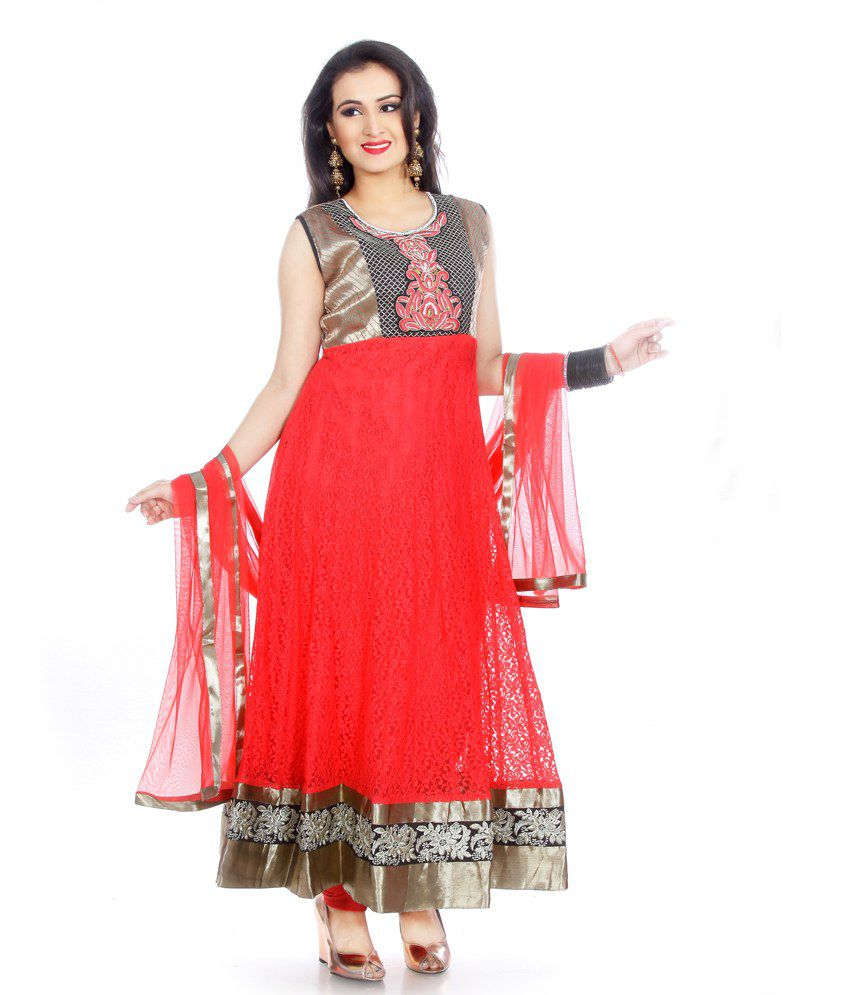 MANAVI CIRCLE Red Net Self Designed Salwar Suits