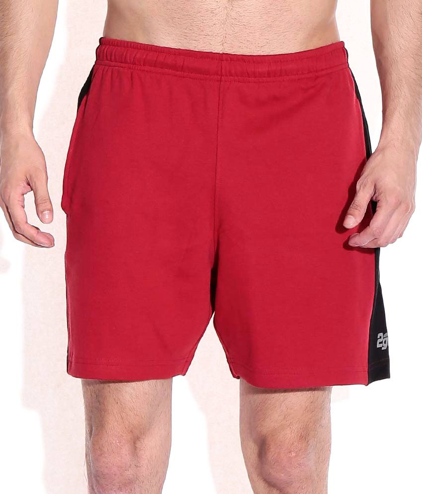 2go Red Cotton Solids Shorts