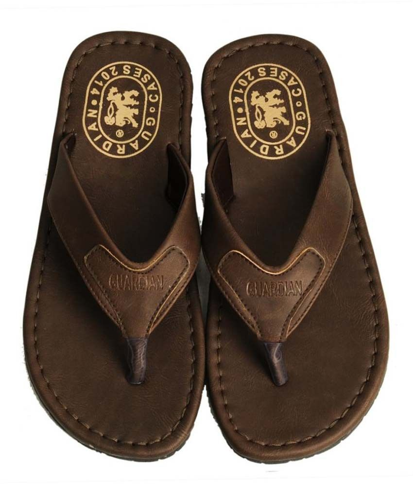 d869fcdcb2ac Guardian Brown Leather Flip Flops For Men Price in India- Buy ...