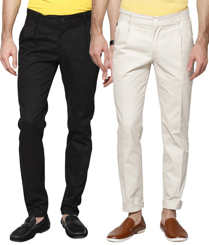 Haute Couture Combo Of Black & White Chinos