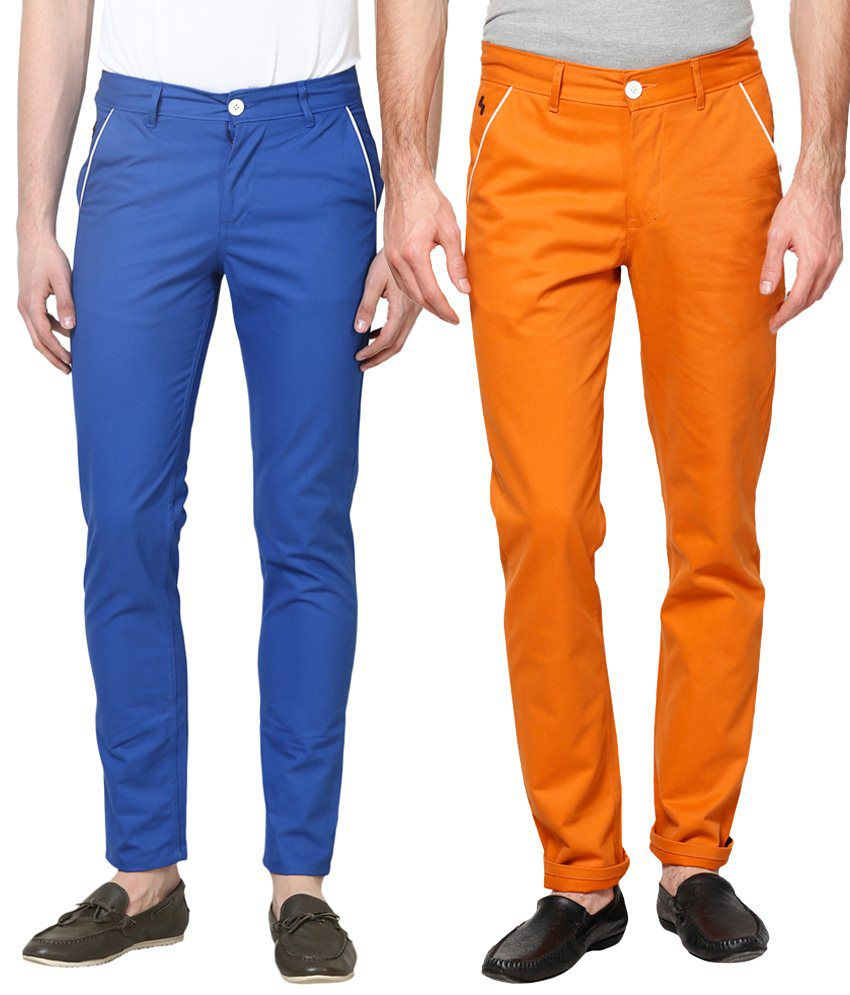Haute Couture Combo Of Charming Blue & Orange Chinos