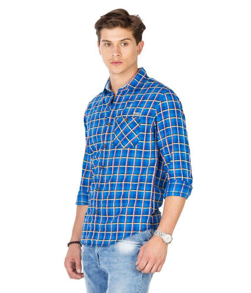 91043d46c7e4 Mufti Blue Cotton Casual Shirt - Buy Mufti Blue Cotton Casual Shirt ...