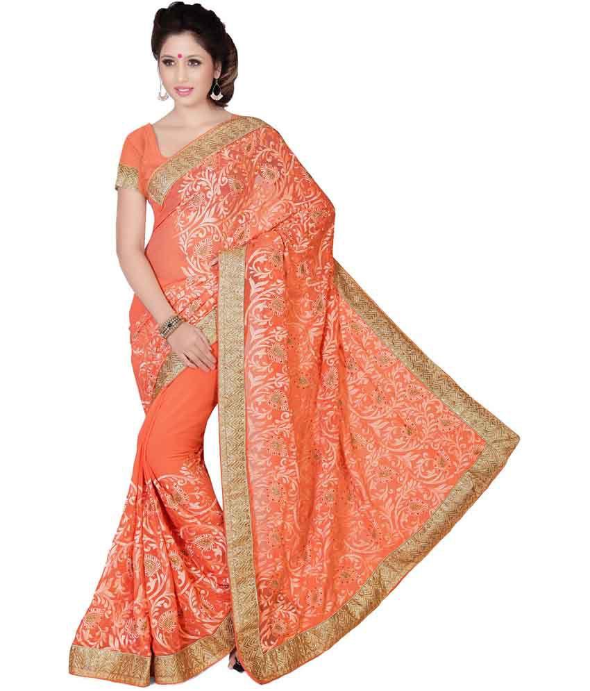 Prachi Silk Mills Orange Faux Georgette Saree