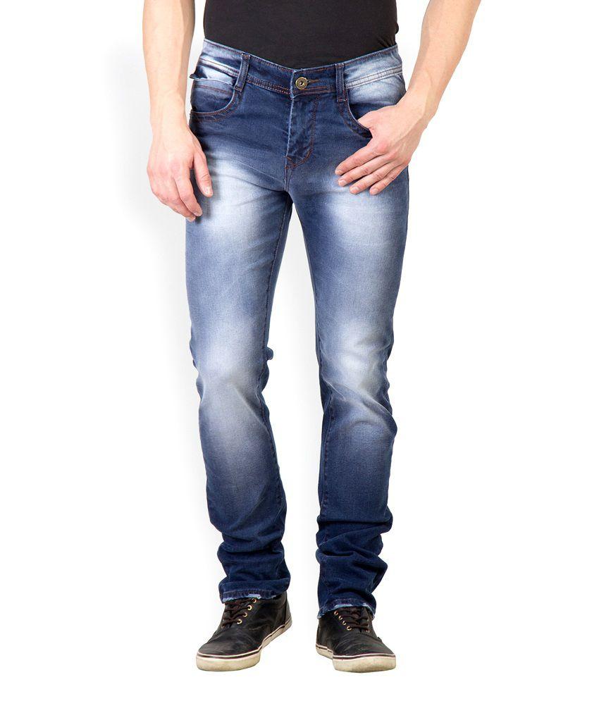 Rodamo Blue Cotton Faded Slim Fit Jeans