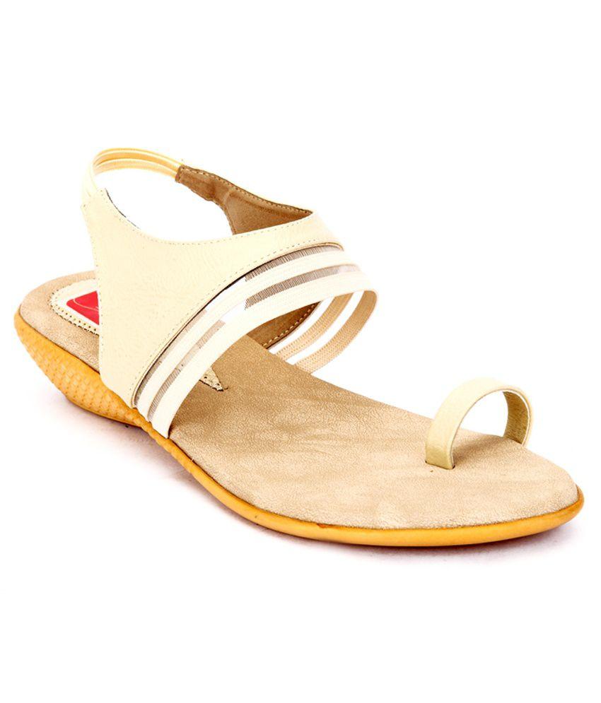 Shibha Footwear Beige Faux Leather Office Wear Low Heel Sandals
