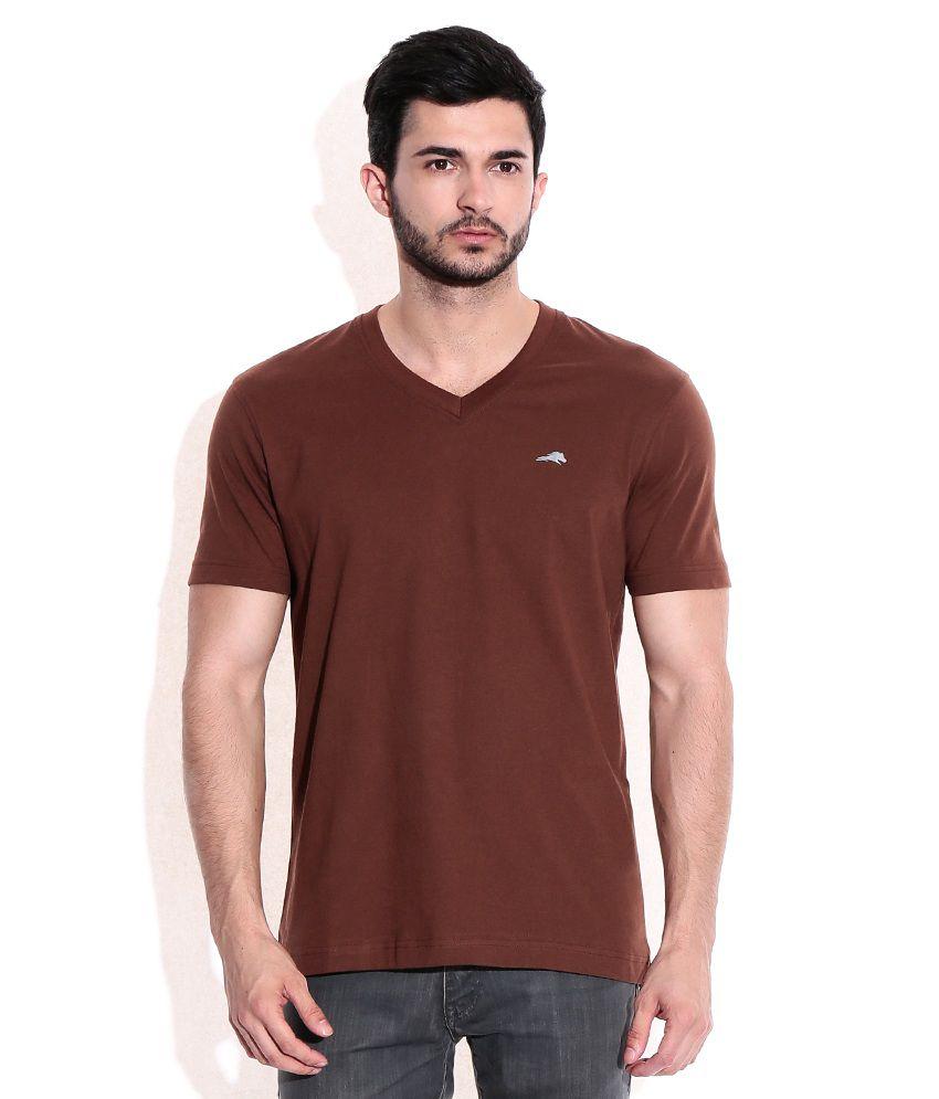 2go Brown Cotton V-Neck T-Shrits