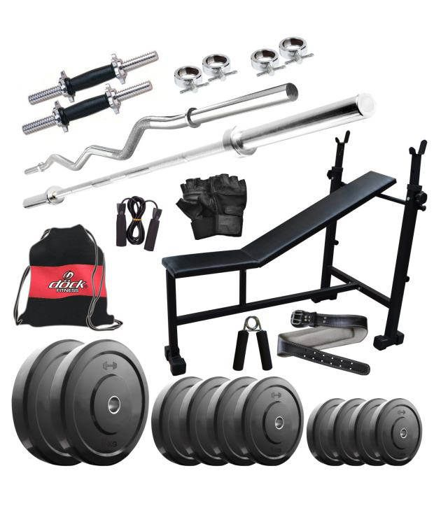 Dock Combo of 40 Kg Home Gym, 14 Inch Dumbbells, 2 Rods, 3 In 1 (I/D/F) Bench, Gym Belt, Gym Backpack & Accessories