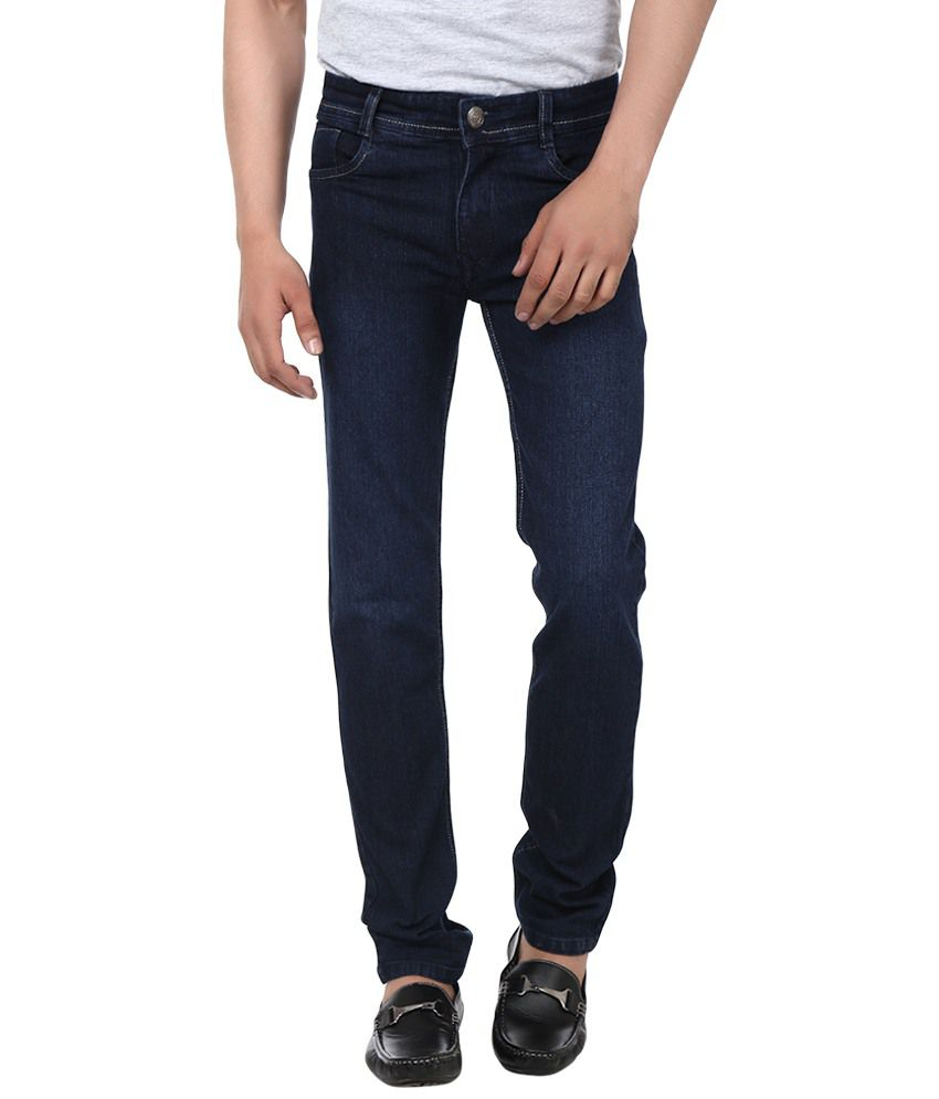 Jack Berry Navy Cotton Blend Regular Fit Faded Jeans