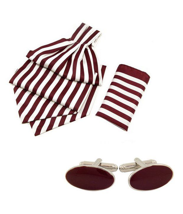 Orosilber Burgandy With White Candy Strip Cravats and Pocket Square with Cufflinks