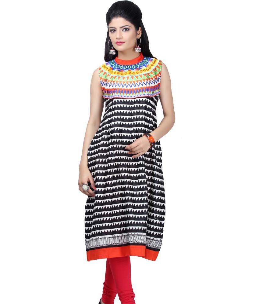 Satrangi Black Sleeveless Cotton Short Kurti