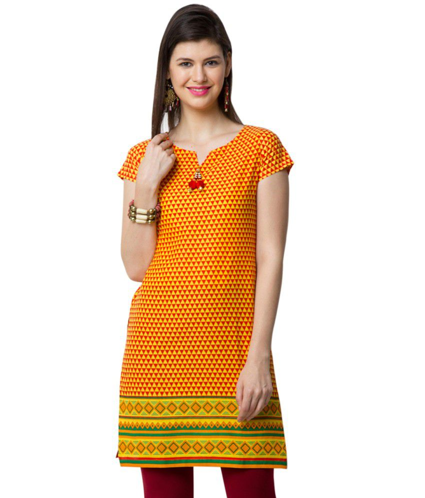 Yepme Yellow Cotton Kurti