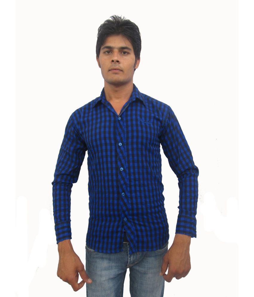 Handsomes Blue Cotton Blend Casuals Shirt